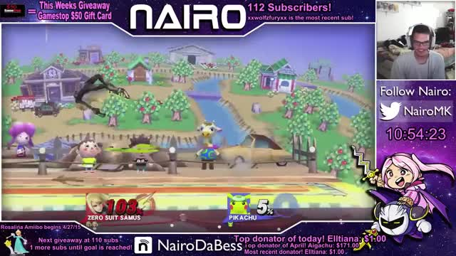 Nairo recovers under the stage with Zero Suit Samus