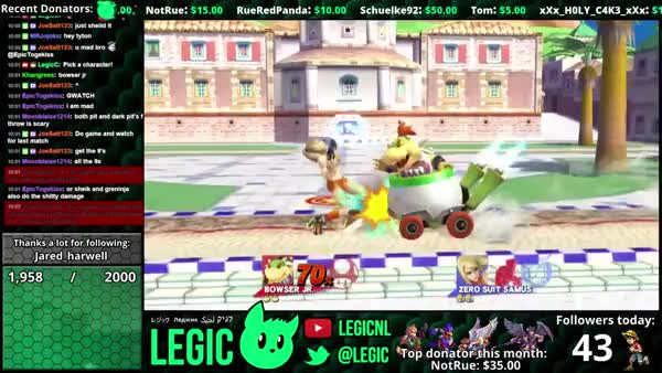 Bowser Jr.'s Up B Cancel? Delfino Plaza. Low % kill