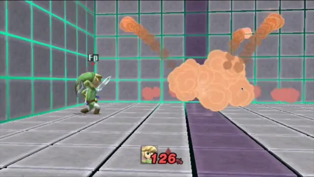 Toon Link nearly reaching the top of the Training Room stage