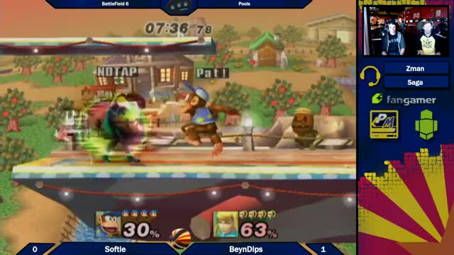 Smashville platform with the Banana assist