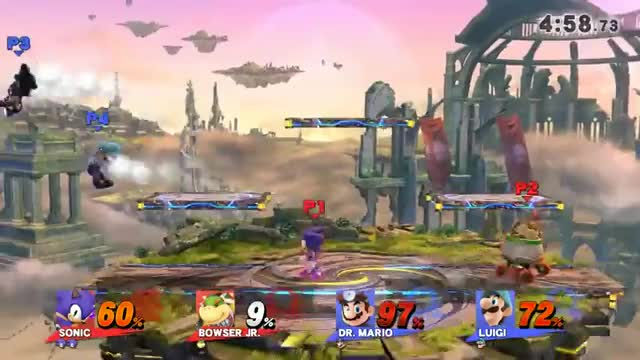 Jr saves Sonic and the rekts one of the Mario Bros.