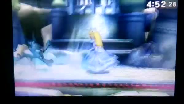 Peach's umbrella against Greninja's stomps