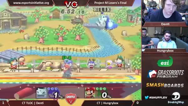 Hungrybox's Mario beats up Denti's Ivy