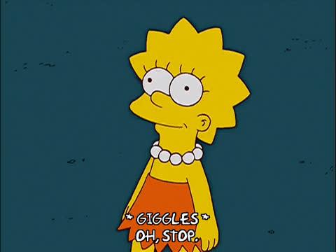 blush, blushing, flattered, lisa simpson, oh stop, shucks, the simpsons, Lisa Simpson Flattered GIFs