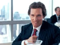 funny, wolf of wall street, chest thump, pleased, happy