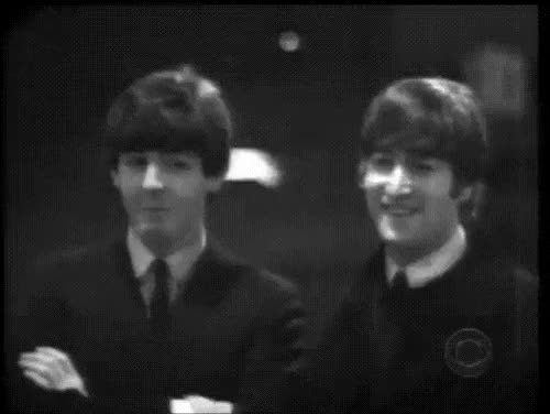 Watch this GIF on Gfycat. Discover more 1960s, John Lennon, gif, laughing, paul mccartney, source: goosberrye GIFs on Gfycat