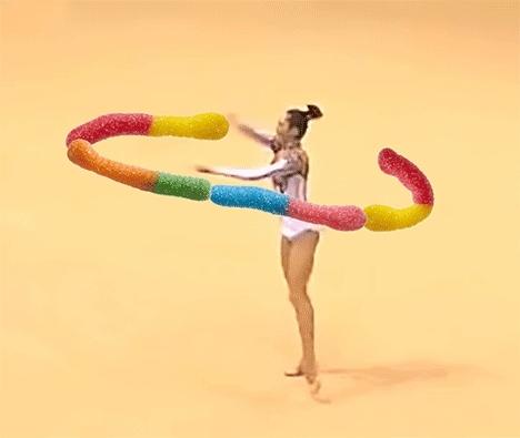 Trolli, gymnastics, olympics, ribbon dancer, sour brite crawlers, weirdlyawesome, olympics GIFs