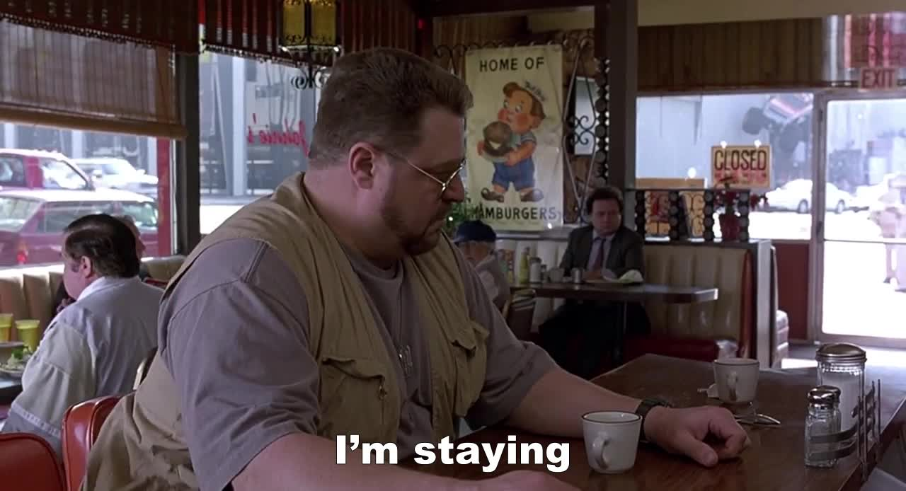 Big Lebowski, Coffee, John Goodman, June 20 birthdays, Big Lebowski diner scene - I'm finishing my coffee GIFs