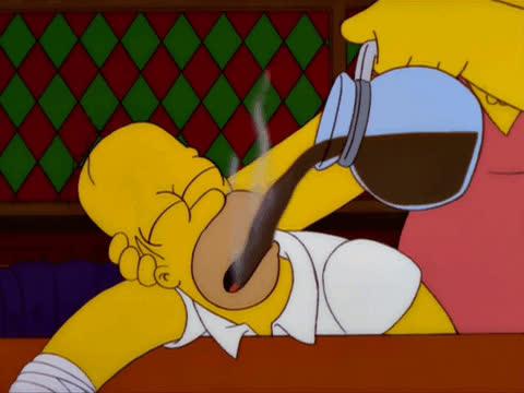 caffeine, coffee, coffee break, coffee pot, homer simpson, the simpsons, wake up, Homer Simpson Drinking Pot of Coffee GIFs