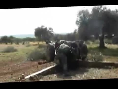 militarygfys, FSA D-30 howitzer comes under counter-battery fire from the SAA (reddit) GIFs