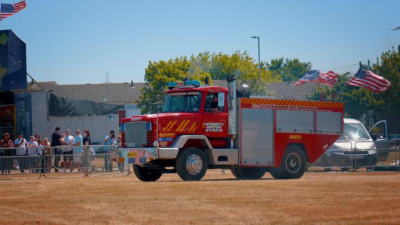driver, fire truck, stunt, transportation, truck, trucks, usa, vertical, Vertical Fire Truck GIFs