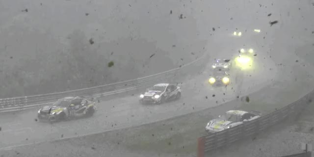 Watch the Nurburgring 24 Devolve Into a Ridiculous Mess During a Hailstorm