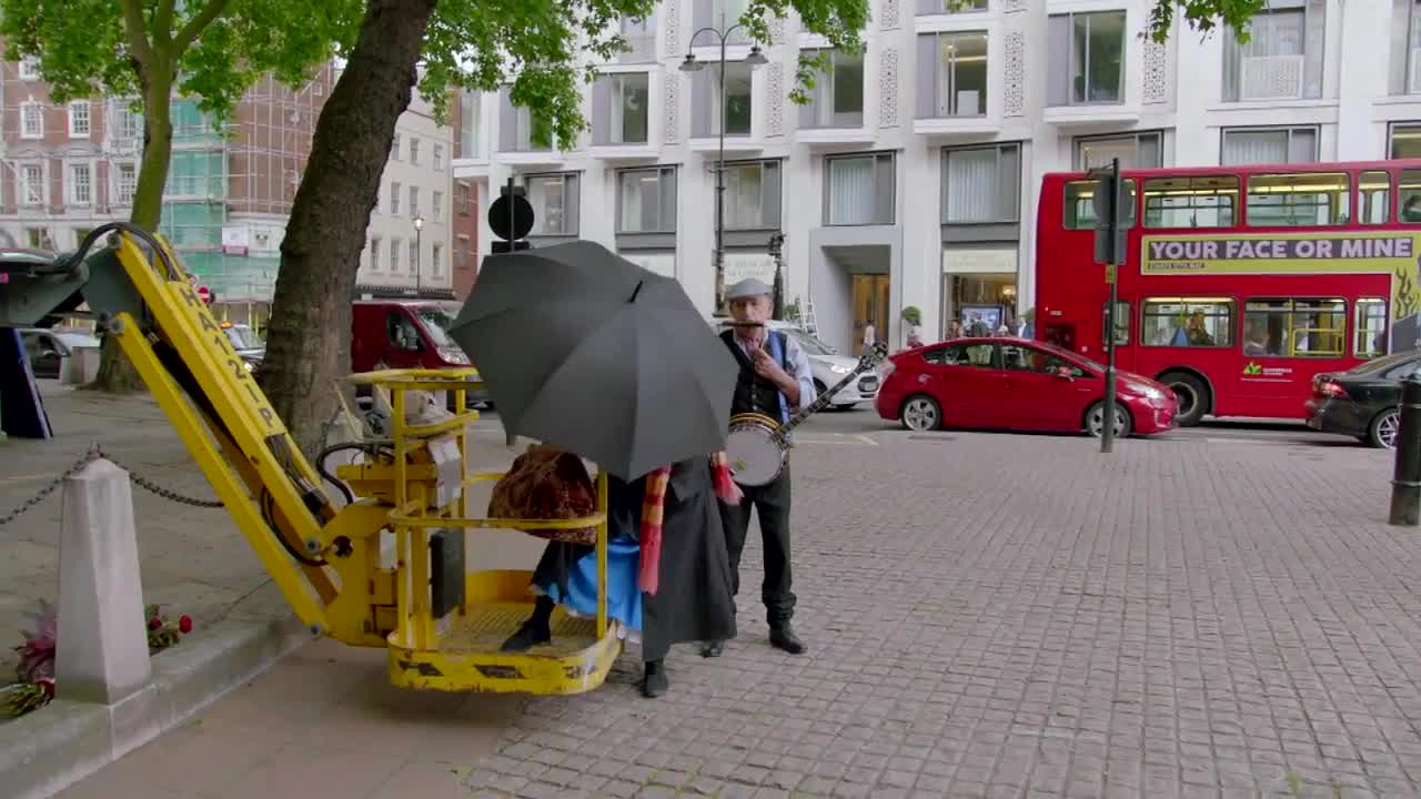 GIF Brewery, crosswalk-the-musical-mary-poppins, James Cordon as Mary Poppins GIFs