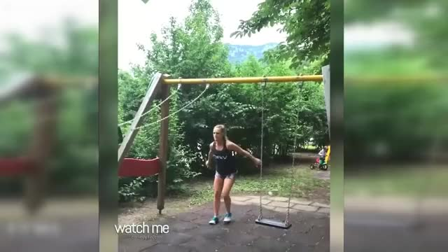 Doing your Gym Routine Using the Kids Swing
