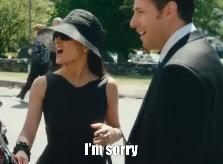 adam sandler, i'm sorry, salma hayek, Salma Hayek sorry GIFs