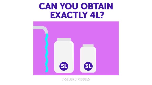 Watch and share How To Obtain 4L Water With 5L And 3L Jar? [by 7-Second Riddles] GIFs by GIFs For Everything on Gfycat