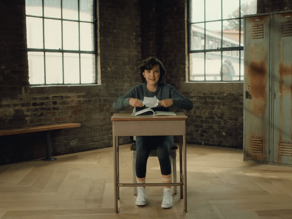 Millie Bobby Brown, back to school, celebrate, converse, excited, yay, Millie Bobby Brown - Back to School GIFs