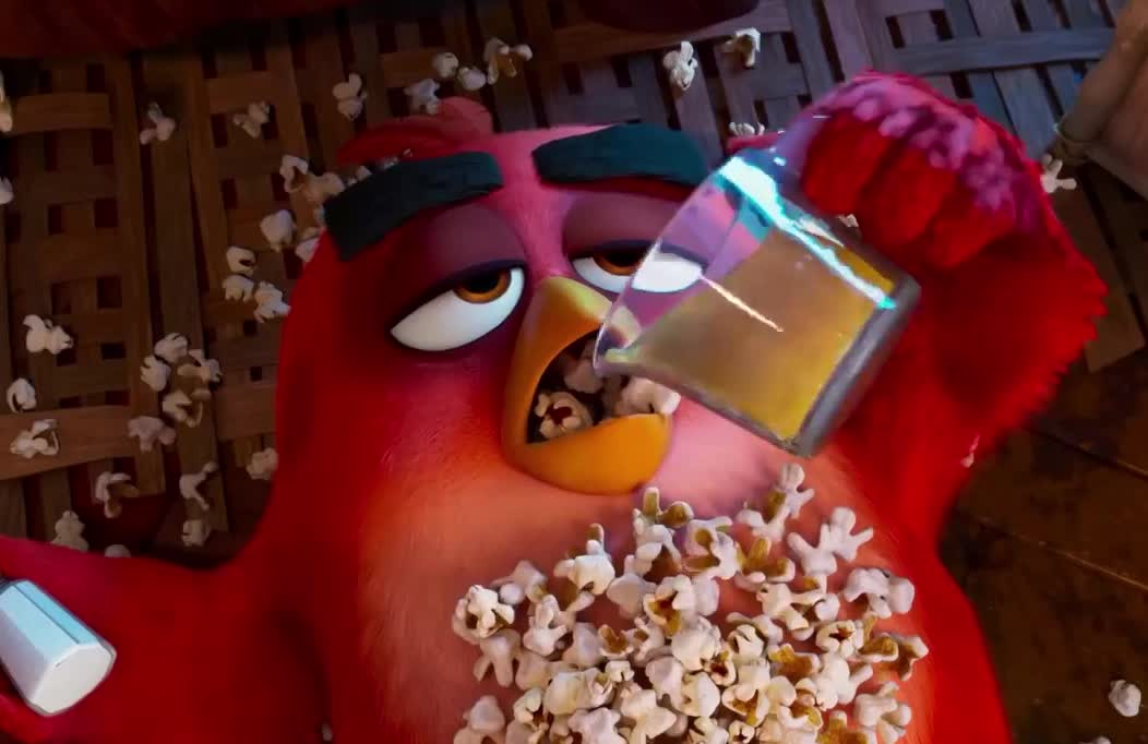 angry, bird, birds, butter, corn, eat, friday, funny, hungry, junk, lol, movie, plans, pop, popcorn, red, saturday, the, weekend, THE ANGRY BIRDS MOVIE 2  GIFs