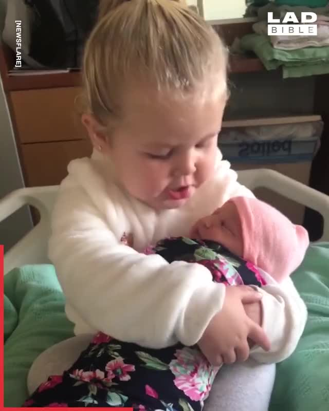 Watch and share The Heartwarming Moment Three-year-old Molly Met Her Baby Sister For The Firs... GIFs by GIFs For Everything on Gfycat
