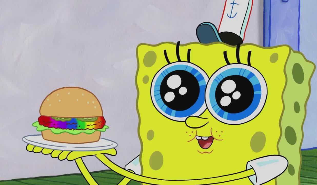 "aw, aww, best, burger, colorful, for, god, h, hungry, my, nickeloden, oh, omg, rainbow, rainbowger, rainbows, spongebob, squarepants, sweet, you, SpongeBob's ""Rainbowger"" | SpongeBob SquarePants GIFs"