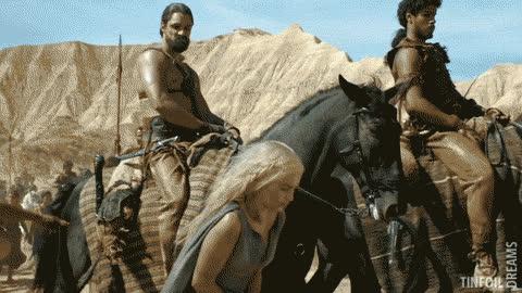 Emilia getting a treatment as Daenerys