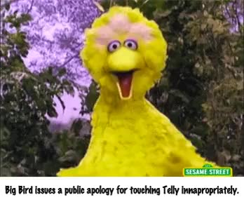 Watch and share Big Bird Just Can't Keep His Hands To Himself...[GIF] • R/bertstrips GIFs on Gfycat