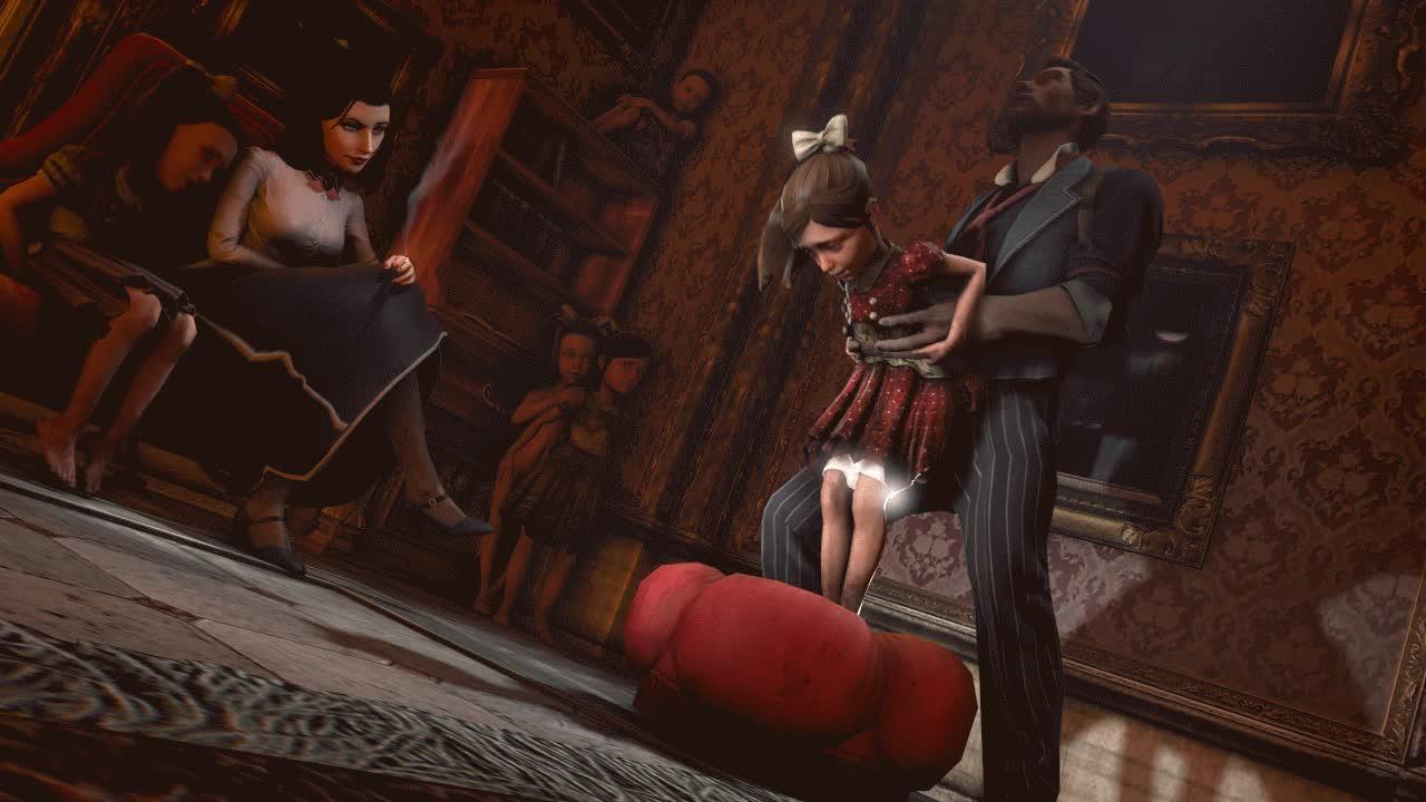 6266 - 3D Animated Bioshock Booker_DeWitt Elizabeth Little_Sister_(Bioshock) SFMoneyshot Source_Filmmaker GIFs