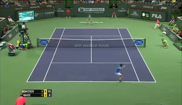 Watch and share Grigor Dimitrov Hits Indian Wells Hot Shot GIFs on Gfycat