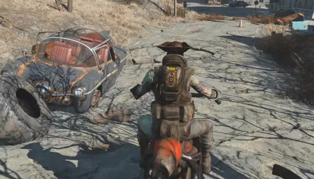 Drive a customizable motorcycle around Fallout 4 with this