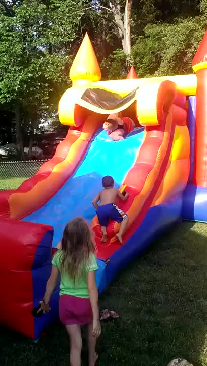 Watch Girl falls off bouncy house slide GIF on Gfycat. Discover more HMF, gifs, holdmyfries GIFs on Gfycat