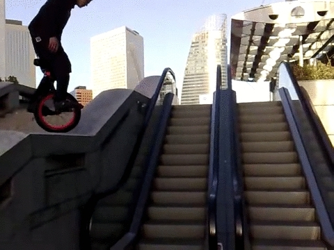whatcouldgowrong, Jump on escalator handrails with my unicycle, WCGW? (reddit) GIFs