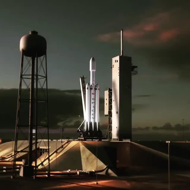 Falcon Heavy draft animation (by @elonmusk) [@blamedrop] GIFs