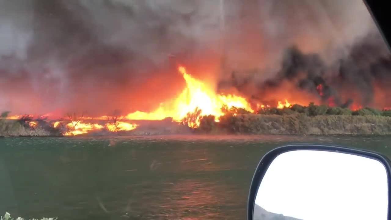 nature, Firenado forms waterspout GIFs