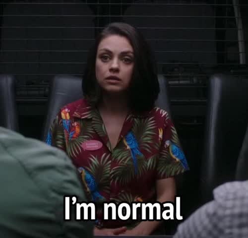 i'm not crazy, mila kunis, movies, norm, not crazy, the spy who dumped me, spy who dumped me - I'm normal GIFs