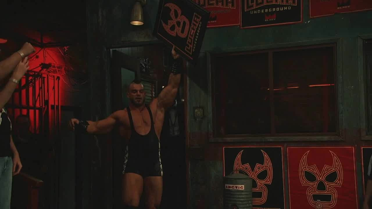 Cage, LuchaUnderground, SquaredCircle, Lucha Underground - Cage smashes a framed Lucha Underground poster over The Mack's head! GIFs