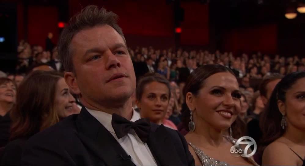 matt damon, oscars, oscars2017, Matt Damon smh - Oscars 2017 GIFs