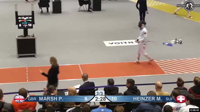 Watch MARSH P 6 GIF by Scott Dubinsky (@fencingdatabase) on Gfycat. Discover more gender: male, leftname: MARSH P, leftscore: 6, rightname: HEINZER M, rightscore: 11, time: 00011764, touch: right, tournament: heidenheim2019, weapon: epee GIFs on Gfycat