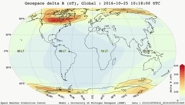 Watch and share Geospace Delta B Model - Global - October 25, 2016  - 6:44 - 10:20 UTC GIFs by The Watchers on Gfycat