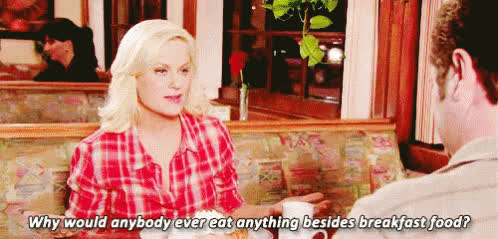 amy poehler, breakfast, parks and recreation, Image result for leslie knope eating waffles GIFs