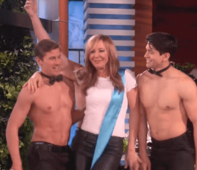 allison janney, celebrate, dance, dancing, Ellen Celebrates Allison Janney's Oscar Win with Hunks GIFs