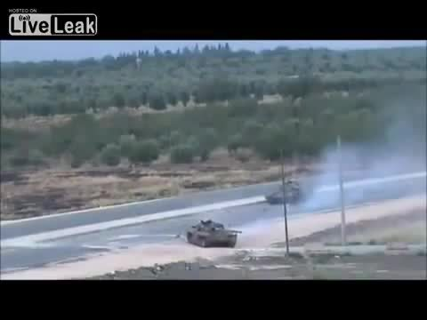 destroyedtanks, Syrian tank runs over an anti-tank mine. (reddit) GIFs