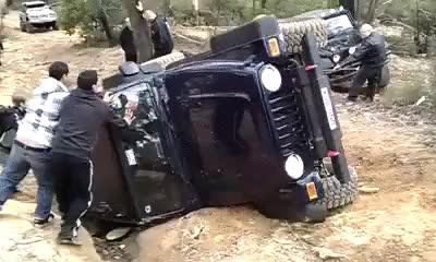 Whatcouldgowrong, yesyesyesno, yesyesyesyesno, We'll just tip this Jeep back onto its wheels, WCGW? (reddit) GIFs