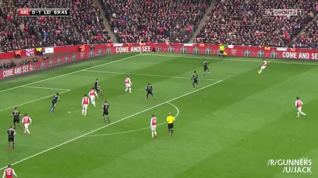 Watch Walcott's goal vs. Leicester to equalize (reddit) GIF on Gfycat. Discover more gunners GIFs on Gfycat