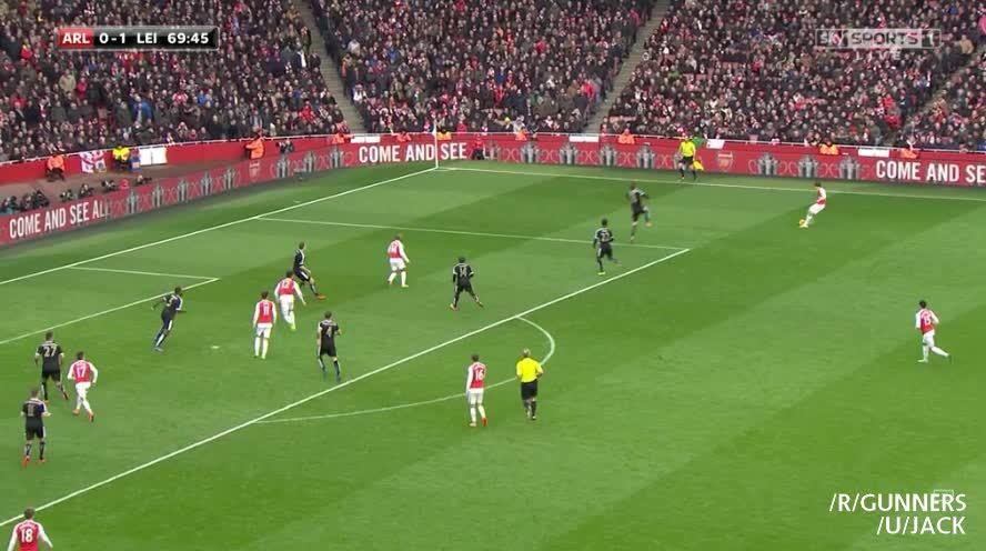 gunners, Walcott's goal vs. Leicester to equalize (reddit) GIFs
