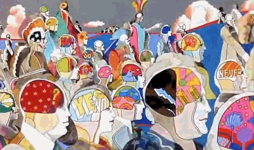 music, the beatles, The Beatles Psychedelic Wallpaper | art trippy psychedelic the beatles yellow submarine animated GIF GIFs