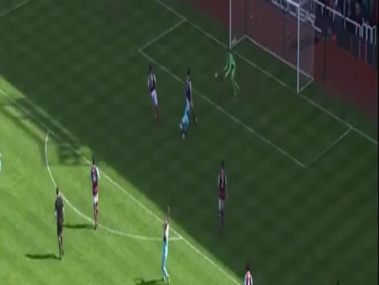 soccergifs, Goalkeeper (Adrian - West Ham) Scores Goal (2016) GIFs
