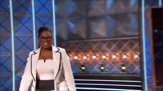 Watch Oprah Winfrey takes the stage. GIF by @tsubaki on Gfycat. Discover more EmmyAwards2017, Emmys, Emmys2017 GIFs on Gfycat