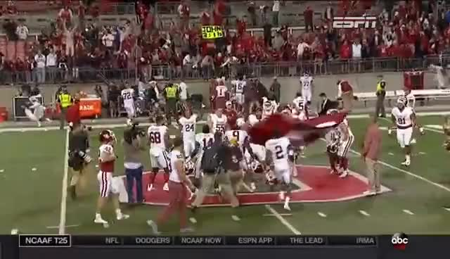 Watch and share Baker Mayfield Plants The OU Flag At Midfield In The Horseshoe... By Iancass6873 Eyewitness News ABC GIFs on Gfycat