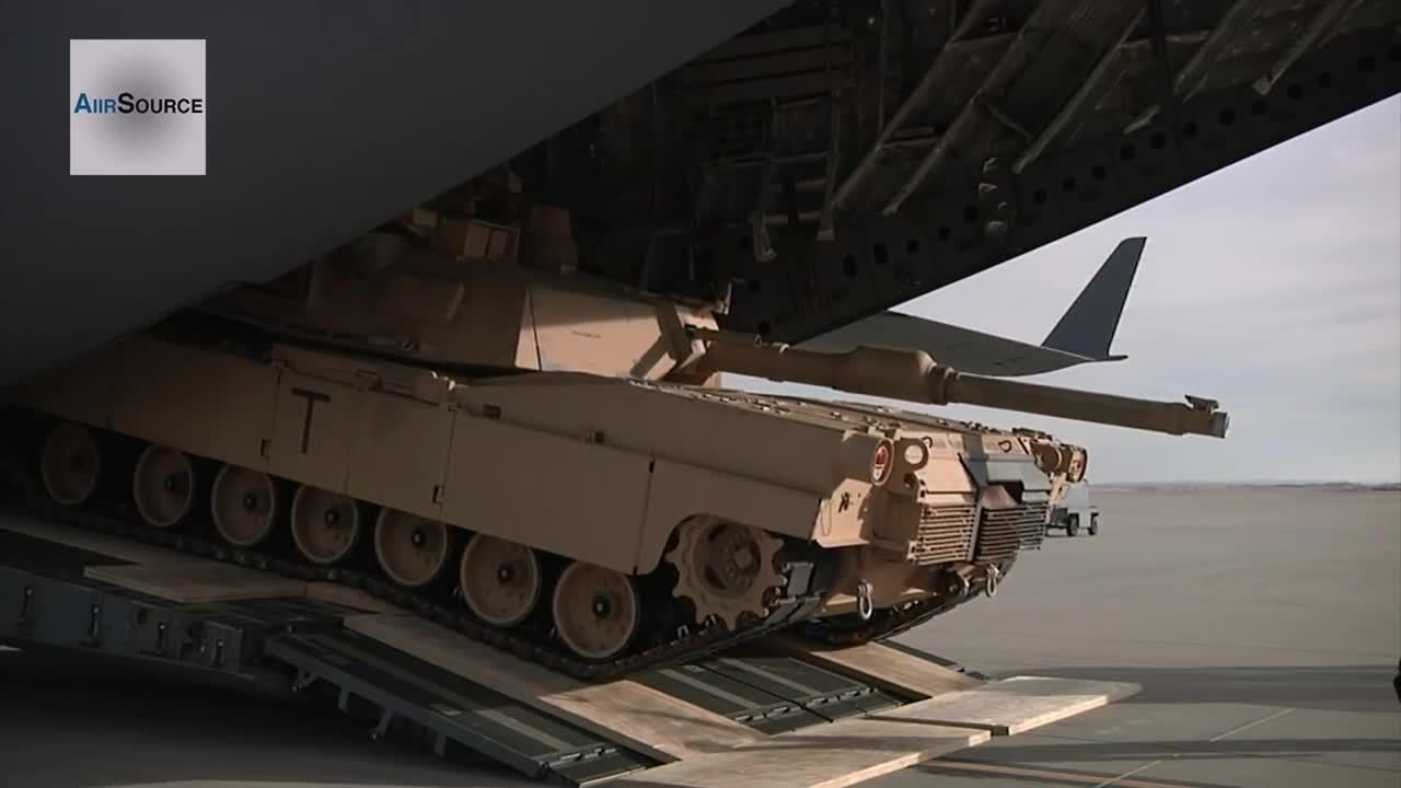 militarygfys, C-17 dropping off an Abrams. (reddit) GIFs