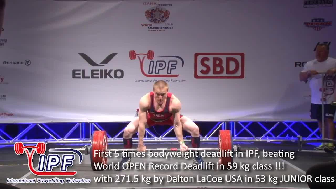 World Junior Record Deadlift With 271 5 Kg By Dalton La Coe USA In 53 Kg  Class